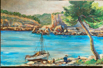 £229.60 • Buy Oil Painting° Fishermen At Shore Mediterranean Antique Unreadable Signed France