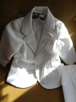 £1.99 • Buy Vintage Baby Boys Posh Suit All White Trs/shirt/jacket/bow Tie/cummerband 6 Mont
