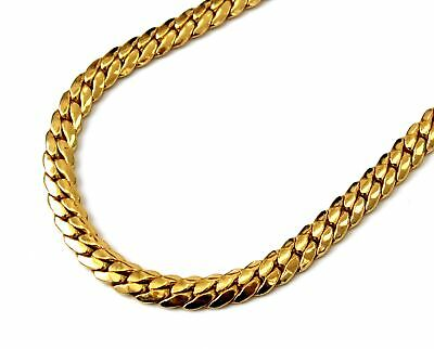 $6.89 • Buy YELLOW GOLD TONE 7MM Wide Cuban Link 16  Chain Costume Necklace - H09