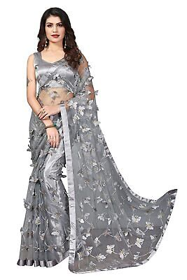 £17.49 • Buy Indian Women's Net Embroidery Saree With Blouse Piece, Grey, With Free Shipping
