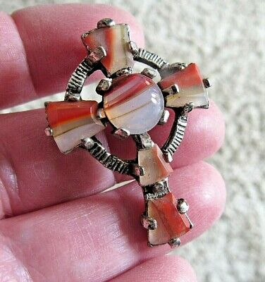 £0.99 • Buy Vintage Signed Miracle Scottish Celtic Iona Cross Agate Brooch Pin Or Pendant