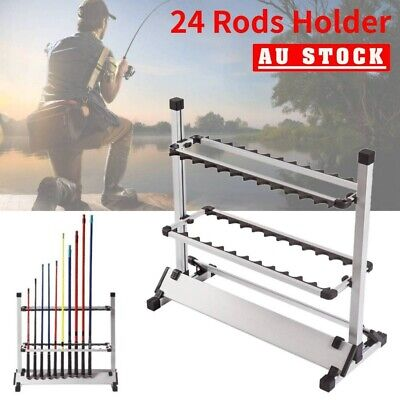 AU49.99 • Buy Fishing Rod Rack Stand 24 Slots Alloy Metallic Holder Stand Storage Tackle Tool