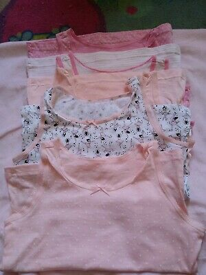 £3 • Buy 5 X New Girls Pink Patterned Vests Age 6-7 Yrs By George (ballerina , Stars &...
