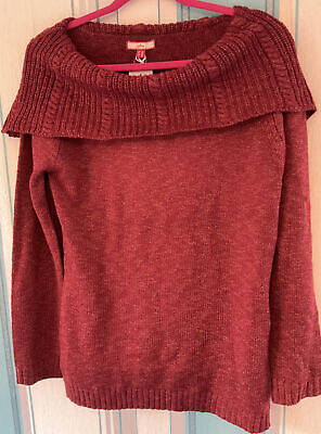 £4.10 • Buy Joe Browns Size 14, Chunky Knit Off-the-shoulder Sweater In Deep Rust / Red