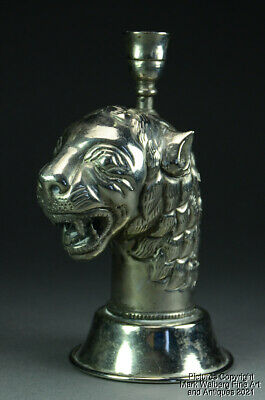 £72.43 • Buy Indian Silver Plated Repoussé Lion Head Form Candlestick, Late 19th/Early 20th C