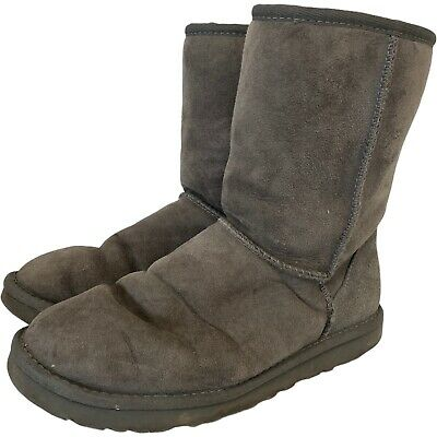 £4.99 • Buy UGG S/N5825 Grey Genuine Suede Sheepskin Ankle Boots Slippers UK6.5 39  - CB1