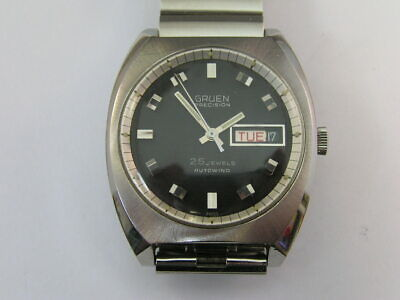 £53.89 • Buy Vintage Gruen Precision Watch 25 Jewel Autowind Day/Date 1970s W/ Band Cal 711CD