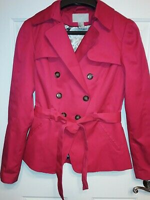 $12 • Buy Sz-6 (M) H&M Fuschia Pink Double-Breasted, Belted Lined Trench Coat Style NWOT