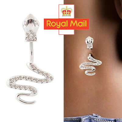 £2.99 • Buy Surgical Steel Crystal Snake Navel Bar Belly Button Ring Body Jewellery Bellybar