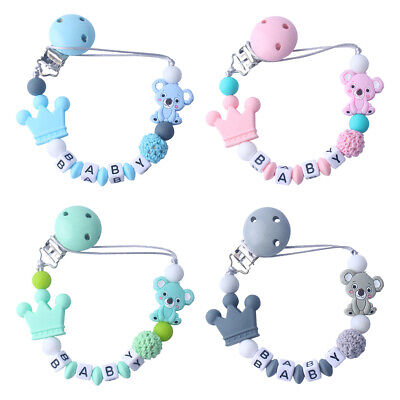 £6.29 • Buy Dummy Clip Holder Baby Pacifier Clips Teething Beads Soother Chains Silicone TnL