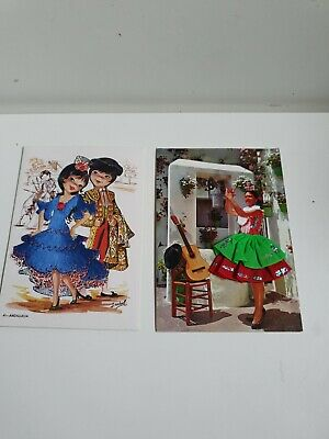 £0.99 • Buy Vintage Collection Of 2 Embroidered Spanish Postcards  Spanish Dancers