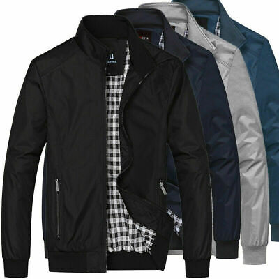 £15.10 • Buy Mens Jacket Summer Lightweight Bomber Coat Casual Outfit Tops Outerwear M-3XL