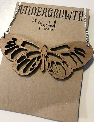 £4.99 • Buy Laser Cut Wooden Butterfly Necklace By Rosebud Casson BRAND NEW