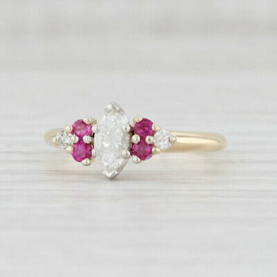 AU1407.10 • Buy New 0.70ctw Ruby Diamond Ring 14k Yellow Gold Marquise Engagement Size 7