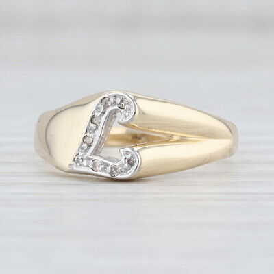 AU333.97 • Buy Diamond Initial L Ring 14k Yellow Gold Size 8 Letter Alphabet Jewelry