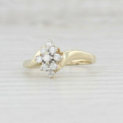 AU236.17 • Buy 0.16ctw Diamond Cluster Ring 10k Yellow Gold Engagement Size 6.5