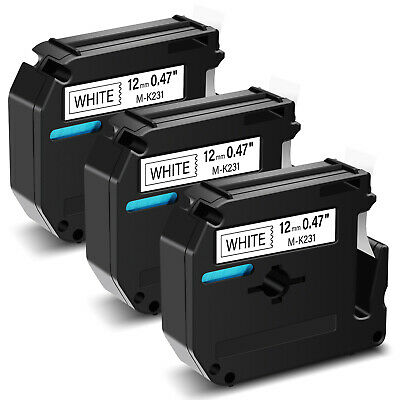 $8.99 • Buy 3PK Black On White Label Tape For Brother M-K231 M231 P-touch PT-70/80/90 1/2