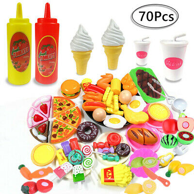 £14.90 • Buy 70pcs Kids Toy Pretend Role Play Kitchen Pizza Food Cutting Sets Children Gift