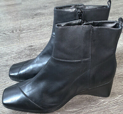£25 • Buy Clarks Ladies Ankle Boots Mousse CAKE Black Leather UK 6D
