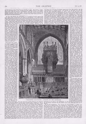 £18.26 • Buy 1876 - Antique Print MANCHESTER Cathedral Interior People Pews Altar (065)