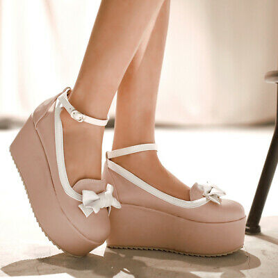 £27.99 • Buy Women Bowknot Wedge High Heels Platform Pumps Ankle Strap Buckle Mary Jane Shoes