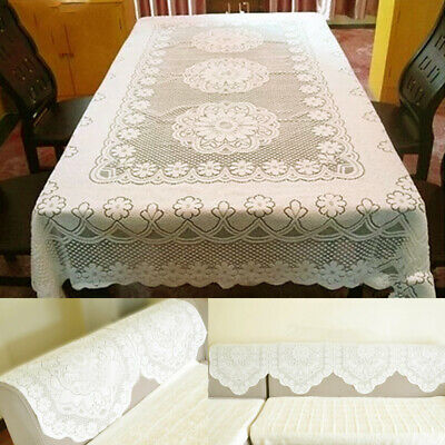 AU14.48 • Buy Lace Embroidery Tablecloth Square Rectangle Dining Table Sofa Cover Mat Reusable