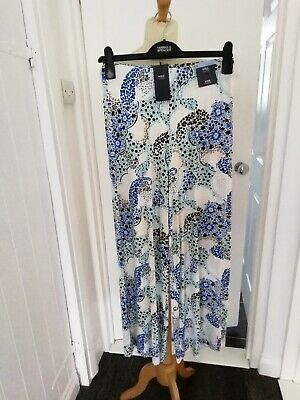 £3.99 • Buy Ladies Marks And Spencer Wide Leg Patterned Cropped Trousers Size 8 NWT