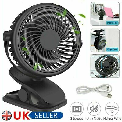 £7.69 • Buy 3 Speeds USB Rechargeable Mini Cooling Fan Clip On Desk Baby Stroller Portable