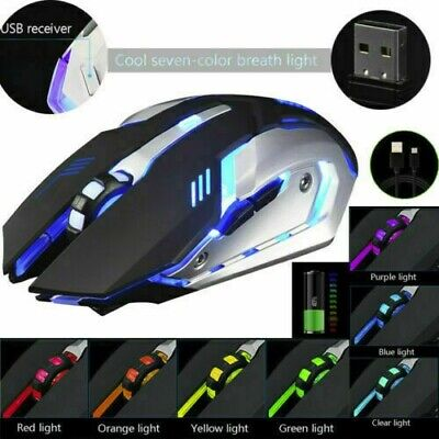 AU2.77 • Buy Gaming Mouse Rechargeable X7 Wireless Silent LED Backlit USB Optical Ergonomic A