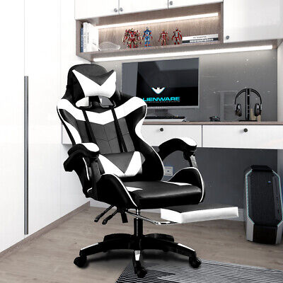£84.90 • Buy Adjustable Gaming Chair Office Computer Chair Racing Recliner Armrest + Footrest