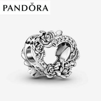 £5.30 • Buy ALE S925 Genuine Pandora Open Heart & Rose Flowers Charm With Gift Box