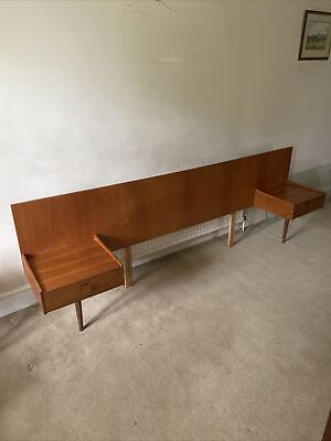 £125 • Buy G Plan 1960's Vintage Teak Headboard For Double Bed With Floating Bedside Tables