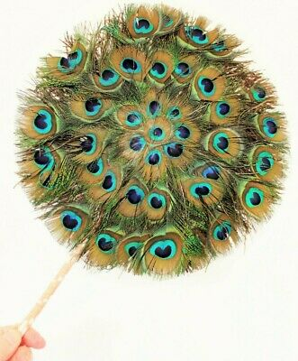 £45 • Buy Antique Real Peacock Feather Hand Fan Round Double Sided