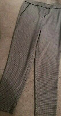 £1.99 • Buy Ladies SIZE 10 Black And Beigey Lilac CHECK TROUSERS F&f DOGTOOTH TAPERED SMART