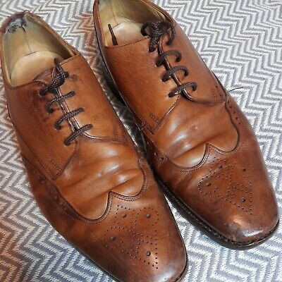 £9.90 • Buy Charles Tyrwhitt Leather Tan Brogue Detail Lace Up Shoes Size  UK 7.5