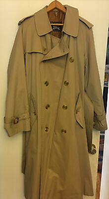 """$299 • Buy Burberry London Trench Coat Classic 48""""Long Beige Nova Check With Warmer"""