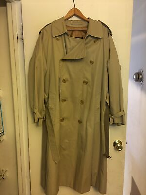 """$249 • Buy Burberry London Trench Coat Classic 48""""Long Beige Nova Check With Warmer"""