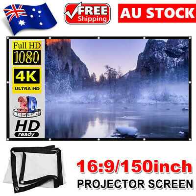 AU24.95 • Buy 150  Foldable 16:9 Projector Screen Portable Outdoor Home 3D Movie Cinema White