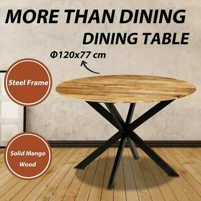 AU435.99 • Buy VidaXL Solid Mango Wood Dining Table Round Dinner Room Kitchen Coffee Table