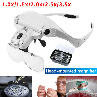 £11.99 • Buy Magnifying Glass Headset 2 LED Light Head Headband Magnifier 5 Lens With Box NEW