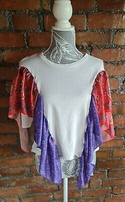 AU8.30 • Buy Pull And Bear Cotton Blouse Size M Unusual Satin Panel Styling