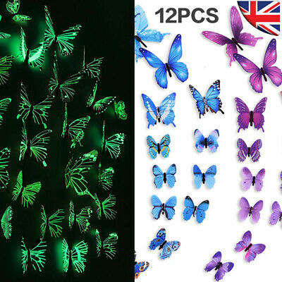 £2.59 • Buy 12x Luminous Home Butterfly Wall Stickers 3D Metallic Decals Room Decorations
