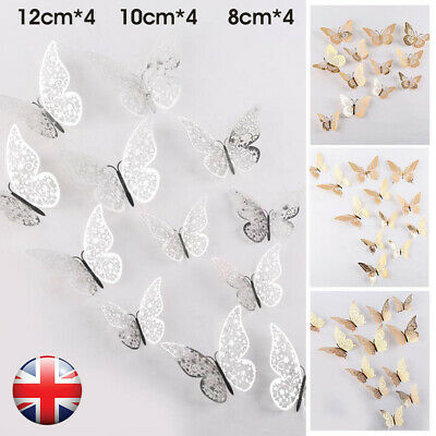 £2.89 • Buy 12PCS Home Butterfly Wall Stickers 3D Metallic Decals Room Decorations Decor UK