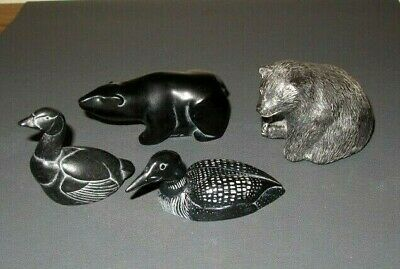 £10 • Buy Vintage Canadian 4 Inuit Carvings  All Signed 2 -Boma -1 Wolf. And 1 CSG
