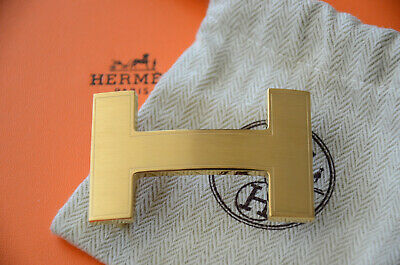 £137.44 • Buy HERMES 32MM Belt Buckle GOLD QUIZZ H With Pouch