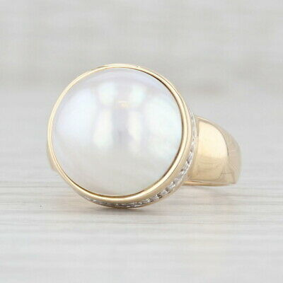 $329.99 • Buy Mabe Pearl Diamond Halo Ring 14k Yellow Gold Size 5.75 Cocktail