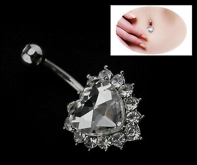 £4.16 • Buy Silver Belly Bar Navel Button Ring Crystal Dangle Surgical Steel Body Jewellery