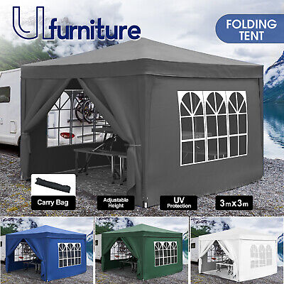 AU119.90 • Buy 3mx3m Folding Gazebo Pop Up Marquee Camping Outdoor Wedding Party Canopy Tent