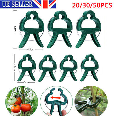 £1.99 • Buy 20/30/50 Re Useable Garden Clips Plant Clips Cane Support Sprung Clips 2 Sizes