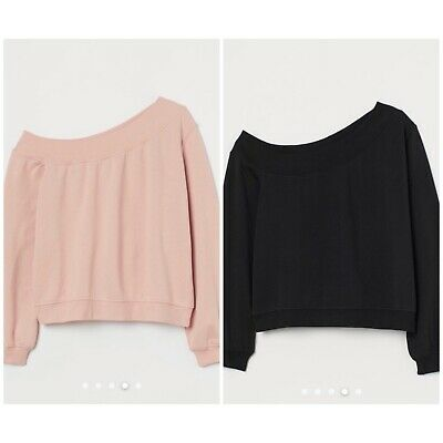 £5 • Buy H&M Off The Shoulder Sweater Jumper Tops - New / WOMENS XS Black & Pink